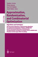 Approximation, Randomization, and Combinatorial Optimization.. Algorithms and Techniques