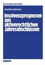 Insolvenzprognosen aus aktienrechtlichen Jahresabschlüssen