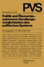 Politik und Ökonomie — autonome Handlungsmöglichkeiten des politischen Systems