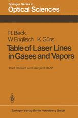 Table of Laser Lines in Gases and Vapors