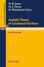 Analytic Theory of Continued Fractions