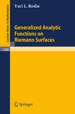 Generalized Analytic Functions on Riemann Surfaces
