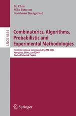 Combinatorics, Algorithms, Probabilistic and Experimental Methodologies
