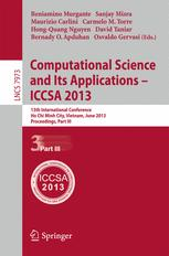 Computational Science and Its Applications – ICCSA 2013