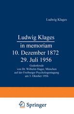 Ludwig Klages in memoriam — 10. Dezember 1872 – 29. Juli 1956