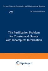 The Purification Problem for Constrained Games with Incomplete Information