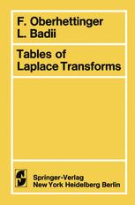 Tables of Laplace Transforms