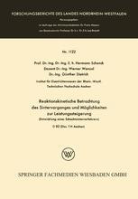 Reaktionskinetische Betrachtung des Sintervorganges und Möglichkeiten zur Leistungssteigerung