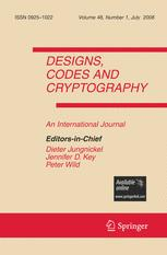 Designs, Codes and Cryptography