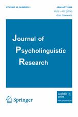 Journal of Psycholinguistic Research