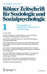 KZfSS Kölner Zeitschrift für Soziologie und Sozialpsychologie