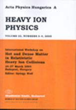 Acta Physica Hungarica New Series Heavy Ion Physics