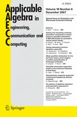 Applicable Algebra in Engineering, Communication and Computing