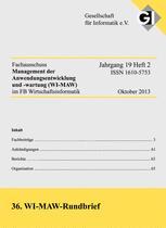 Rundbrief des Fachausschusses Management der Anwendungsentwicklung und -wartung (WI-MAW) 2/2013
