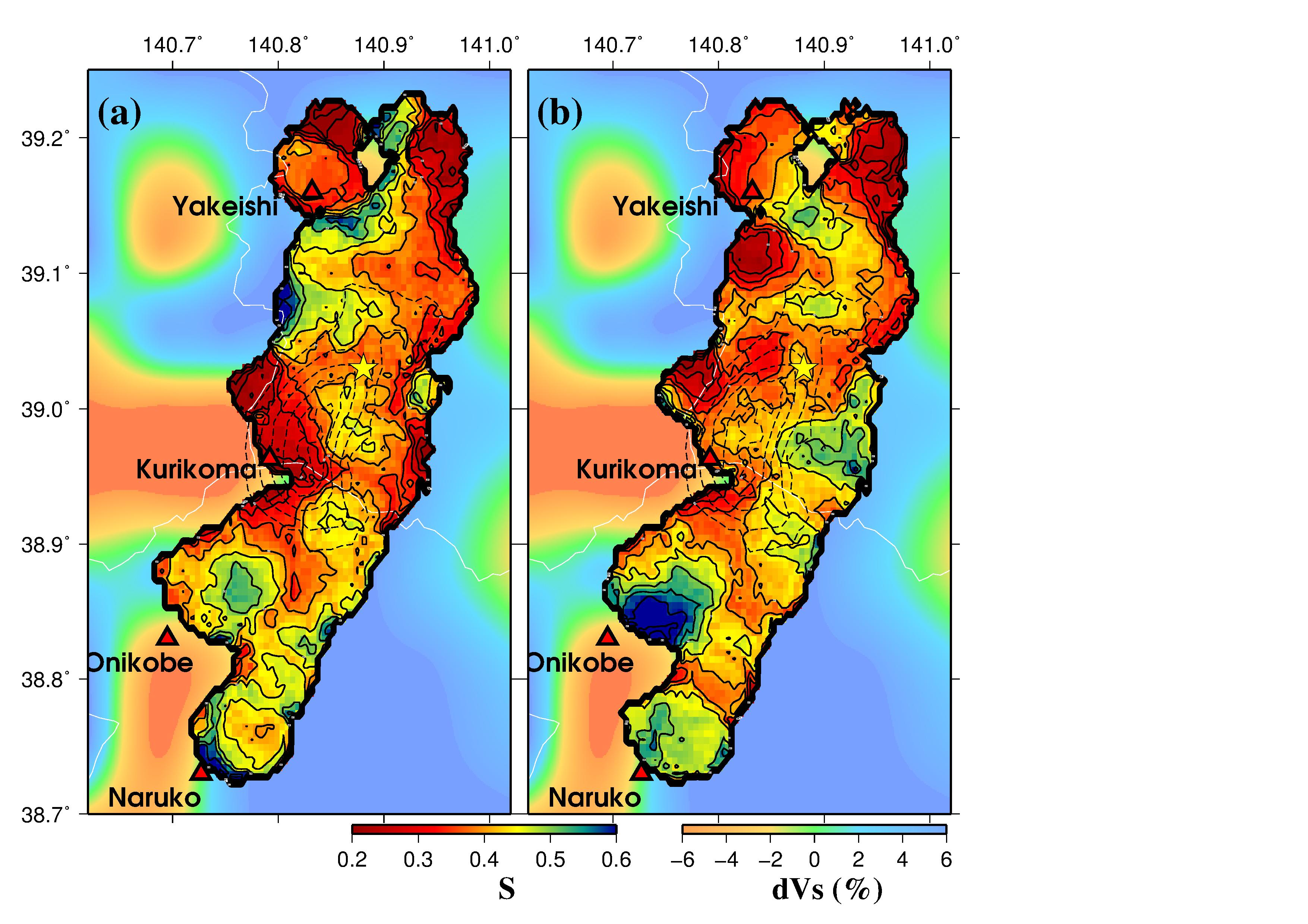 Pore pressure distribution in the focal region of the 2008 M72
